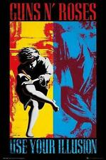 """GUNS N' ROSES FLAGGE / FAHNE """"USE YOUR ILLUSION I & II"""" POSTER FLAG POSTERFLAG"""
