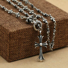 Jewellery 925 Sterling Silver cross Bead Necklace Rosary Religion Gift 70CM Long