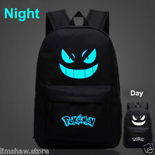 Noctilucence Pokemon Boy School Student Backpack Gengar Face Xmas Gift Black