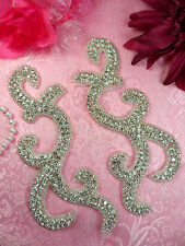 """XR350 Crystal Rhinestone Appliques Mirror Pair Silver Beaded Sewing Patch 6.5"""""""