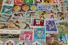 BULK LOT OLYMPICS,SPORTS THEMED STAMPS X 50  GOOD MIX FREE POSTAGE IN OZ
