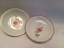 """Set 2 Edelstein Bavaria Germany Floral Small 4 1/2"""" Gold Trim Floral Dish 17357"""