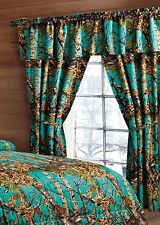TEAL CAMO CURTAIN CAMOUFLAGE LIKE REALTREE 5 PIECE SET VALANCE WINDOW BLUE NEW
