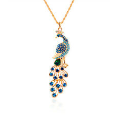 Gold Plated Retro Crystal Peacock Pendant Necklace Sweater Chain Fashion Jewelry