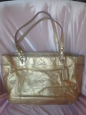 Authentic COACH~Gold embossed signature C east west gallery tote handbag Purse
