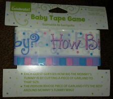 """BABY SHOWER GAME NEUTRAL SEX """"GUESS MOMMY'S TUMMY SIZE"""" TAPE"""