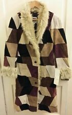 B.LUCID Leather Suede Patchwork Maroon Brown Black Jacket Coat Small Faux Fur