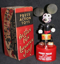Vintage Kohner Drummer MICKEY MOUSE DISNEY Push Puppet Toy BOX 1947 Patent Date