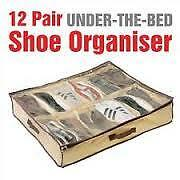 12 Pair Shoes Storage Organizer Holder Shoe Bag Box Under Bed Closet Canvas