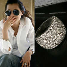 Women Wide Crystal Rhinestone Stainless Steel Beautiful Charm Ring Size 7 Hot