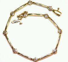 .10CT 14K GOLD NATURAL CUT WHITE DIAMOND VINTAGE TENNIS ENGAGEMENT BRACELET