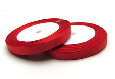 "Free shipping 3/8"" 25Yards Solid color Satin Ribbon Wedding For Party Red"