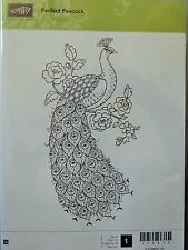 Stampin Up PERFECT PEACOCK wood mount stamp NEW