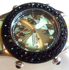FANCY CROTON CHRONOGRAPH WATER RESISTANT SILVER & BLACK CRYSTAL WATCH GORGEOUS