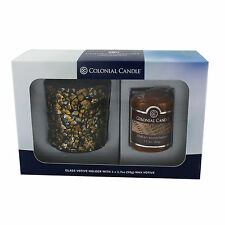 Colonial Candles Copper Brass Gift Set Candle Box Set Votive Mosaic Holder Wood