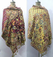 Reversible Indian Wool Wrap Shawl Scarf Stole Poncho Pashmina Cover Up T19