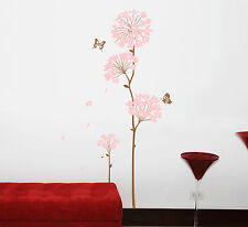 Pink Dandelion Flowers Removable Wall Sticker Room Mural Decal Home Decor Art