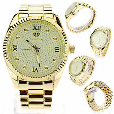 Mens Luxury Diamond Plated Metal Gold Baller Analog Round Quartz Dress Watch