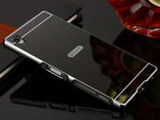 Black Slim Aluminum Metal Frame Mirror Case For Sony Xperia Z3 Compact/Mini S001