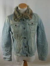 Hollister Women's Button Up Jean Jacket With Fur Collar New Size L