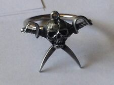 Pirate skull code dr80  Emblem Made From English Pewter on a Scarf Ring