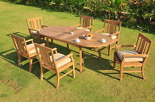 """7 PC OUTDOOR DINING TEAK SET - 94"""" DOUBLE EXTENSION OVAL TABLE, 6 ARM CHAIRS OSB"""
