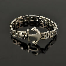 Stainless Steel Cool MAN Pirate Skull Metal Chain Anchor Sign Bracelet Jewelry