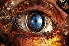 Eyes Steampunk Clocks Gears Lens Abstract Fantasy Poster Silk Fabric Print X 1