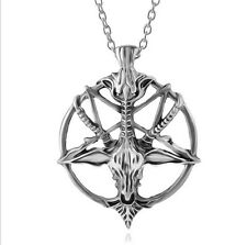 1pc Baphomet Inverted Pentagram Necklace Satanic goat's Occult Ritual Vintage
