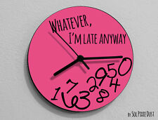 Whatever I'm Late Anyway / Round Pink - Wall Clock