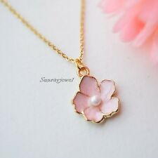 Pink Cherry blossom necklace in gold, Flower necklace, Sakura, Simple