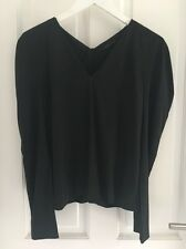 COS Black Silk V Neck Long Sleeve Blouse size 34 uk 8