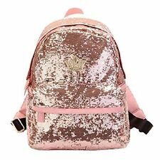 Asherbaby Fashion Bling Sequin Backpack for Women Pink