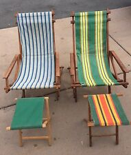 Antique Vintage 1932 Wooden Folding Canvas Lounge Beach Lawn Chairs w Stools McM