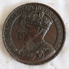 1937 CORONATION OF KING GEORGE VI & QUEEN ELIZABETH 44mm TONED BRONZE MEDAL
