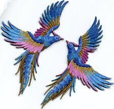 Phoenix phenix birds azure blue pink gold appliques iron-on patches S-1338