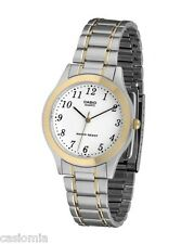 Casio MTP1128G-7B Mens Stainless Steel Two-Tone Dress Watch White Luminous Hands