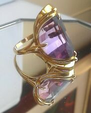 Stunning Unique 18K Gold Custom Made Amethyst Designer Cocktail Ring - Size 6