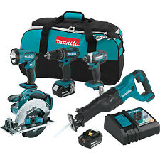 Makita XT505 18V LXT Lithium-Ion Drill Impact Saw Cordless 5 Tool Combo Kit