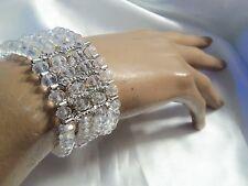CLASSIC CLEAR Aurora Borealis Crystal Silver Rhinestone Stretch Bracelet LA15B70