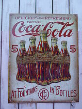 COCA-COLA 5¢ Refreshing COKE Vintage Style 1950s Diner Soda Tin METAL SIGN