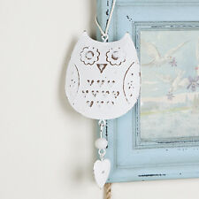 Shabby vintage country chic cream/white metal owl hanging decoration