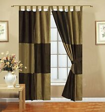 Mocha Brown Microsuede Patchwork Lined Tab Top Panel Window Curtain Set