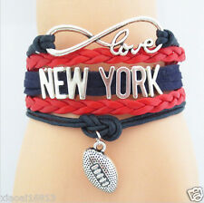 Infinity Love NEW YORK Football Soccer Team Leather Braided Sports Bracelets