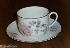 VICTORIA - ANTIQUE CUP & SAUCER SET - MADE IN CZECHOSLOVAKIA - PINK ROSES
