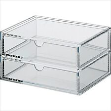 MUJI Moma Acrylic case 2 Multipurpose Drawer Organizer Box 17.5x13x9.5cm Japan