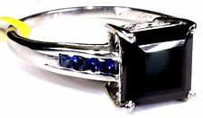 Thai Black Spinel, Blue Sapphire Ring Sterling Silver (Size 8) TGW 4.15 Cts