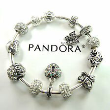Authentic Pandora Silver bangle bracelet with European Charms mom love flower