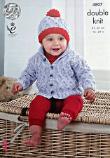 KNITTING PATTERN Baby Long Sleeve Roll Neck Cable Jacket & Hat King Cole DK 4807