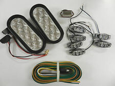 Submersible Boat Trailer LED Light kit, Clear lens colored LED, Stop Turn Tail